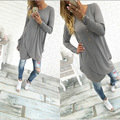 Euro 2016 mini dress women autumn winter Fashion bohemian sexy round collar above knee asymmetrical gray color ladies Dress B466