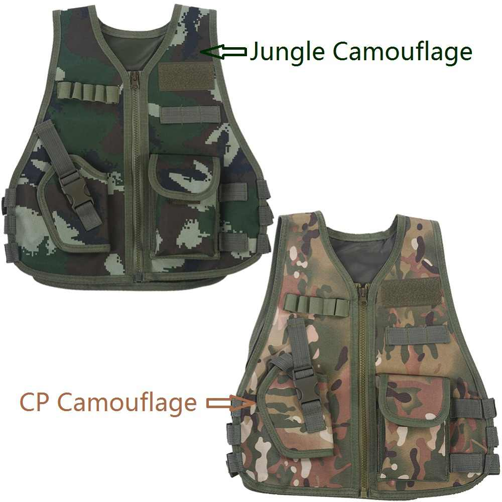 Children Multiple Pockets Military Jacket Kid Breathable Quick Dry Camouflage Vest Outdoor Adventure Hunting Game Vest