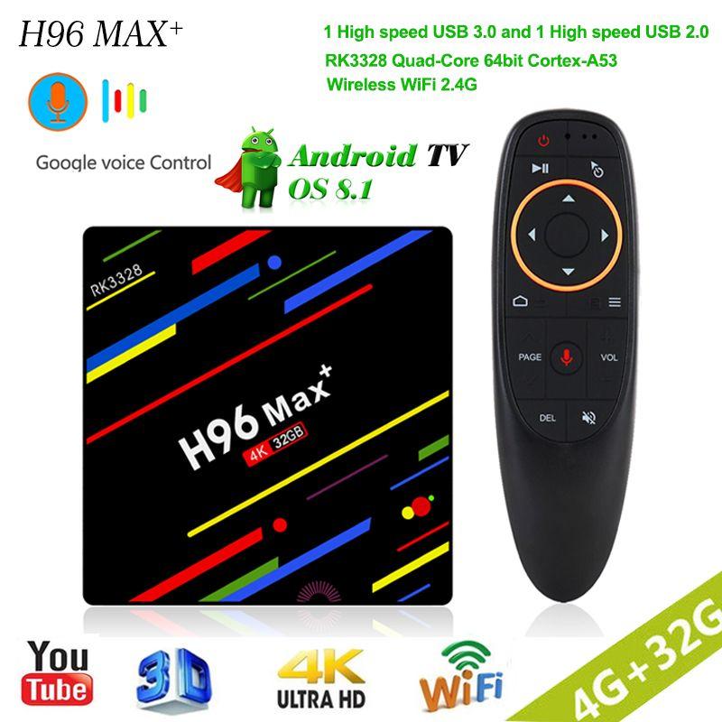 H96 MAX plus smart Android 8.1 TV Box 2018 RK3328 Quad-Core 4gb RAM 32gb ROM WiFi 2.4G voice control Media Player Set Top Box цена 2017