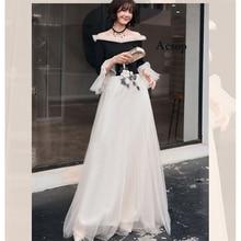 Prom Dress White Black Bost Neck 2019 Sleeves Dresses Women Party Night A-line Floor Length Long Plus Size Vestidos De Gala E430