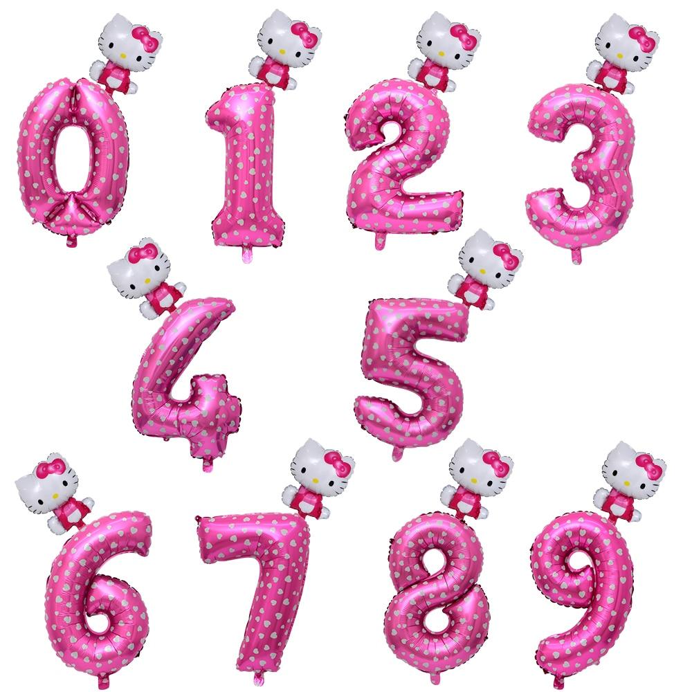 32 дюйма розовый синий номер фольги Воздушные шары hello Kitty воздушный шар рисунок 0-9 лет ребенок душ поставки День рождения украшения