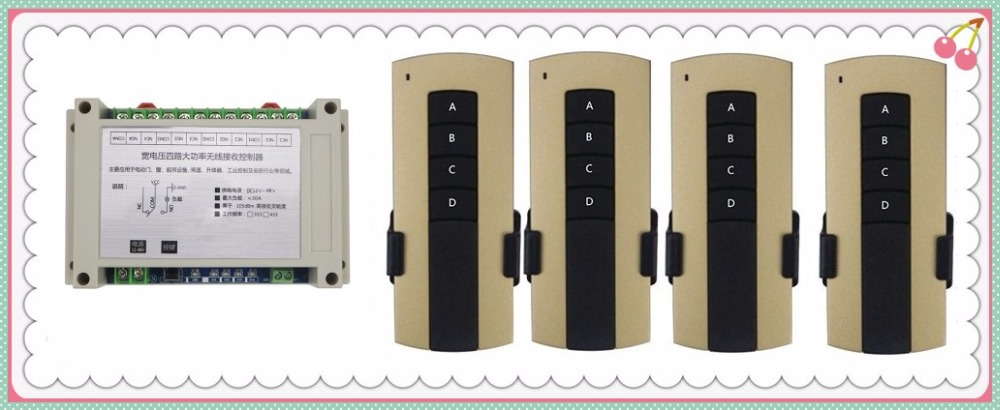 DC12V 24V 36V 48V 4CH 30A RF Wireless Remote Control Relay Switch Security System Garage  Electric Doors/window/lamp 4* remoteDC12V 24V 36V 48V 4CH 30A RF Wireless Remote Control Relay Switch Security System Garage  Electric Doors/window/lamp 4* remote
