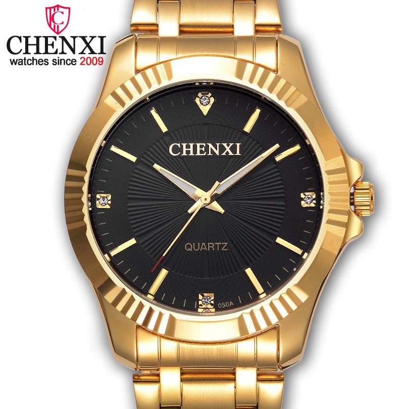 Prix pour Chenxi marque célèbre noble gentlmen montre classique or de luxe en acier inoxydable quartz mâle montres mode délicat cadeau horloge hommes