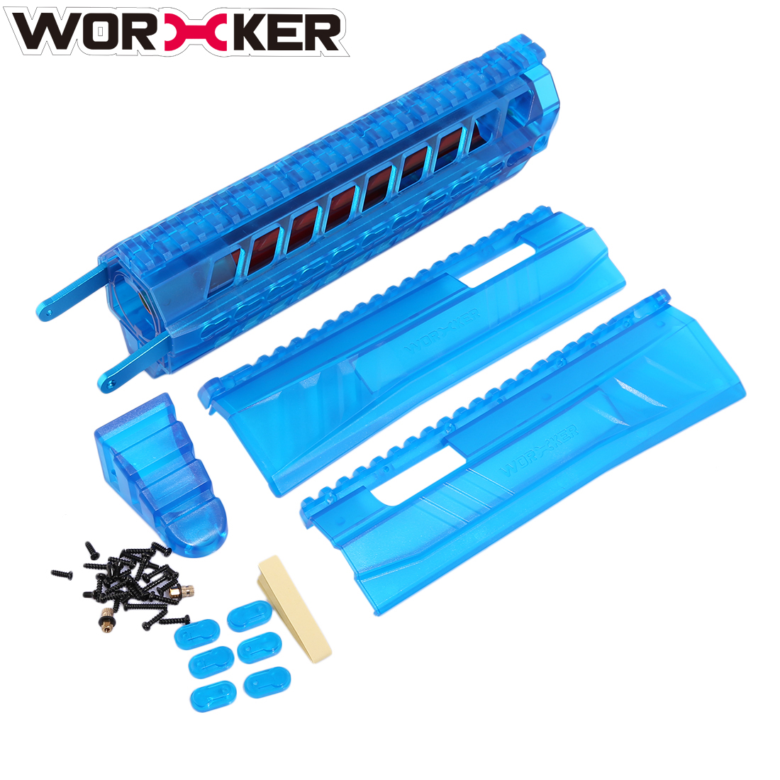 WORKER Modified Integrated Built-in Front Pull-down Kit for Nerf Retaliator - Transparent Blue цена и фото