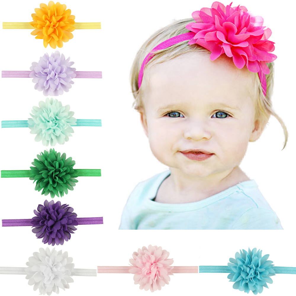 New newborn headbands chiffon flowers hair accessories for children satin flower elastic baby girl headwears with 10 colors free shipping 2 colors newborn kid girl elastic flower headband hairband hair accessories