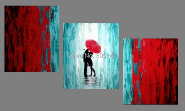romantic decor home office. romantic kisses in the rain stretched oil painting abstract red light blue artwork handmade home office hotel wall art decor newin u0026 calligraphy