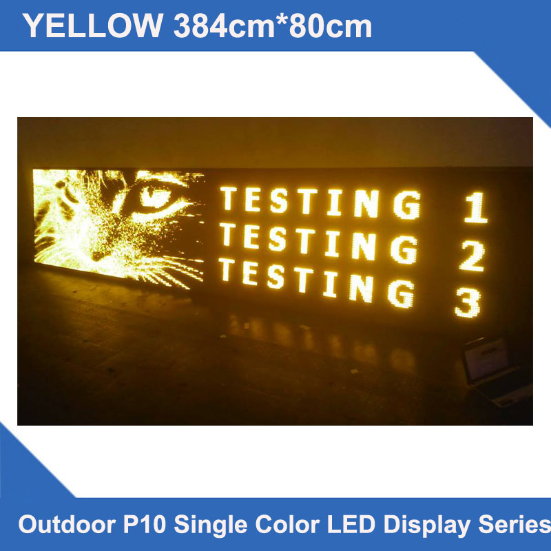LED Message Displays Multi-line LED Displays 384x80cm P10 Yellow Outdoor Waterproof Special LED Scrolling Messageboard Projects
