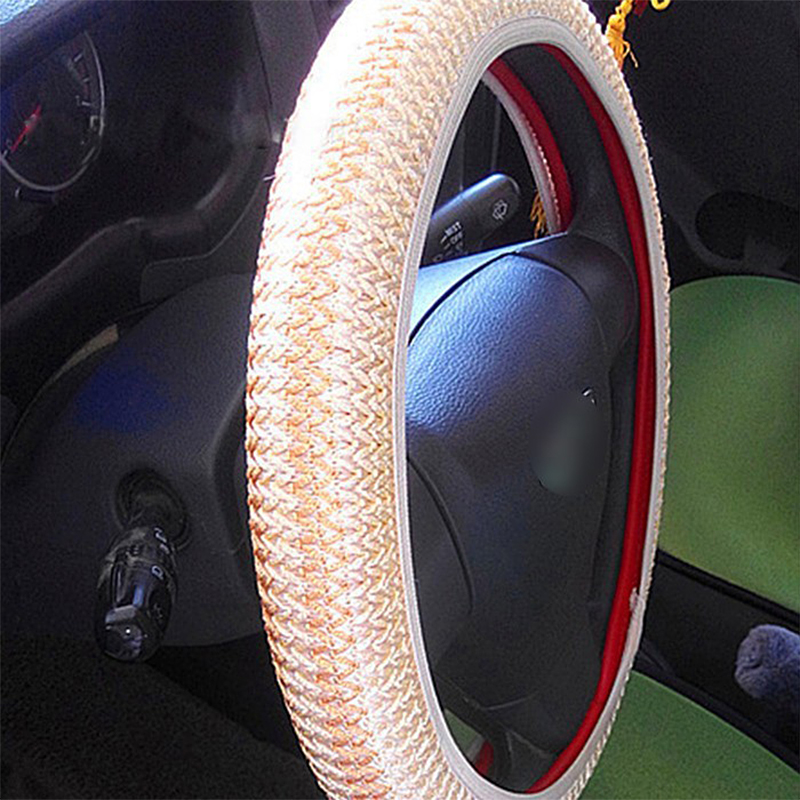 diy car steering wheel cover ice silk cool summer helper black beige grey color auto decoration. Black Bedroom Furniture Sets. Home Design Ideas