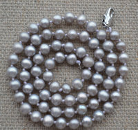100 Real Pearl Necklace Gray 18 Inches 4 5mm Freshwater Pearl Necklace Perfect Lady S Jewelry