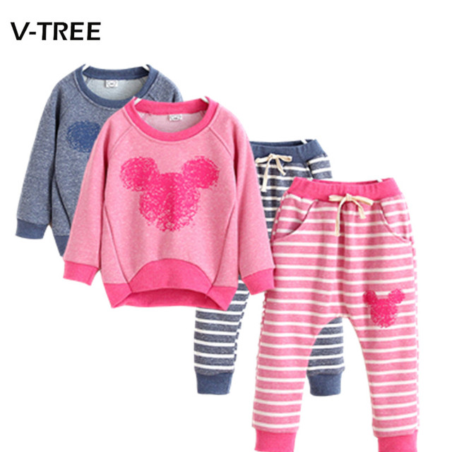 New autumn children's clothing sets baby girls boys cotton suits sets kids casual cartoon sweatshirt+pant sets kids sports sets