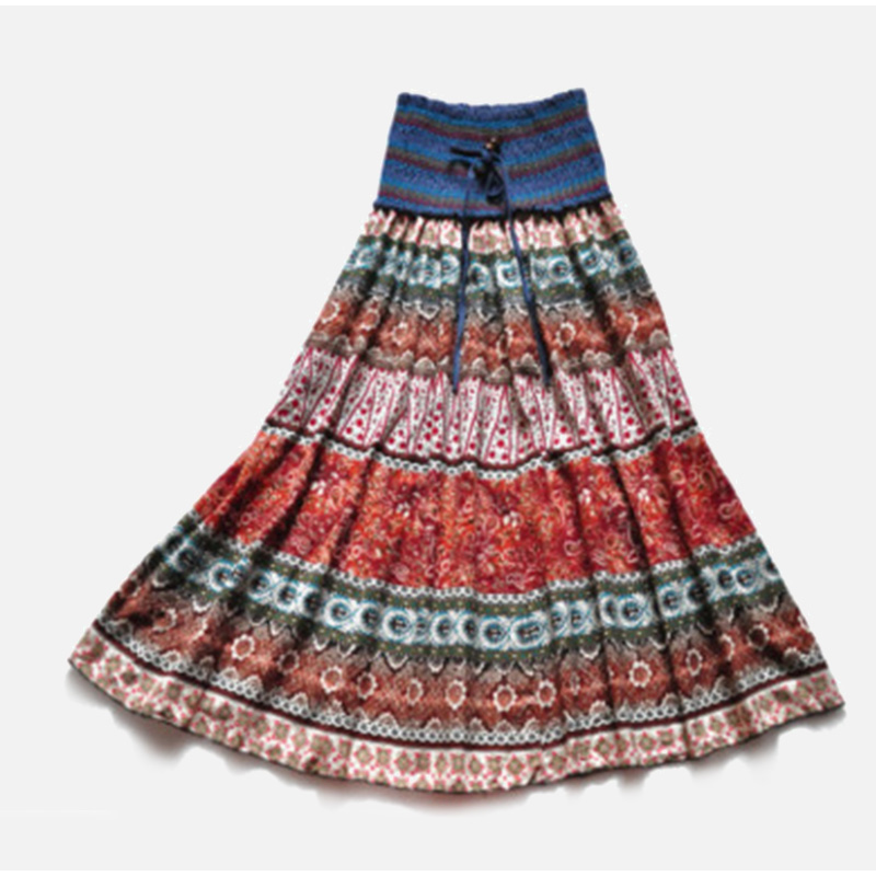 HTB1qyLYSFzqK1RjSZFCq6zbxVXaA - Boho Floral A-line Women's Maxi Skirt Elastic High Waist Sashes Vintage Pleated Womens Skirts Summer Fashion Clothes Female
