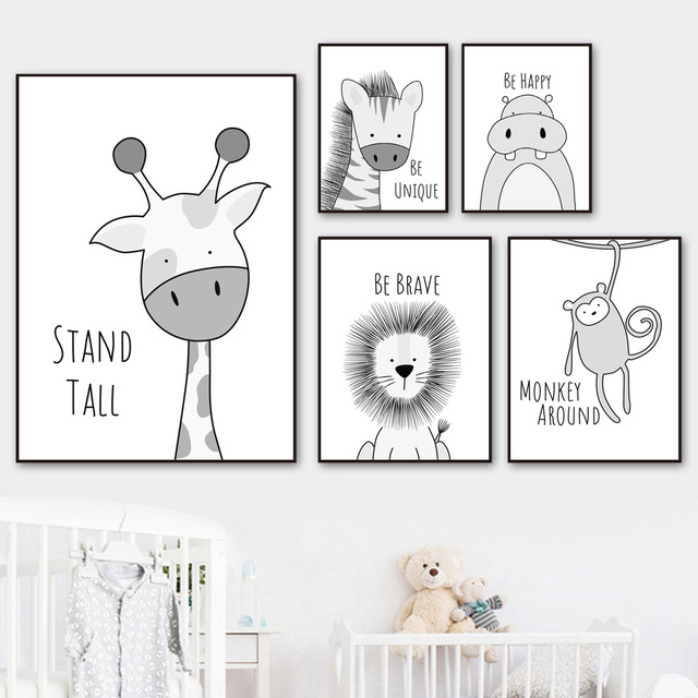 Lion Giraffe Zebra Monkey Hippo Wall Art Canvas Painting Nordic Posters And Prints Nursery Wall Pictures Baby Kids Room Decor