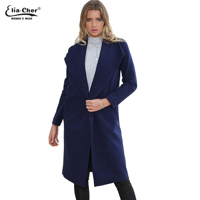 3a28f87e118 Женщины зимние пальто 2015 Eliacher бренд куртка шик элегантных женщин  шерсть мода открыть стежка пальто Большой