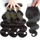 3 Bundles Brazilian Body Wave With Closure 4Pcs/Lot 100% Remy Brazilian Human Hair Weave Bundles With Closure QT Hair