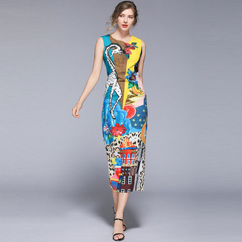 Borisovich Women Summer Casual Long Dress New Brand 2019 Fashion Print Sleeveless Elegant Slim Female Pencil Dresses N919 1