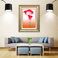 Artcozy Golden Frame Abstract giant white arum lily Waterproof Canvas Painting