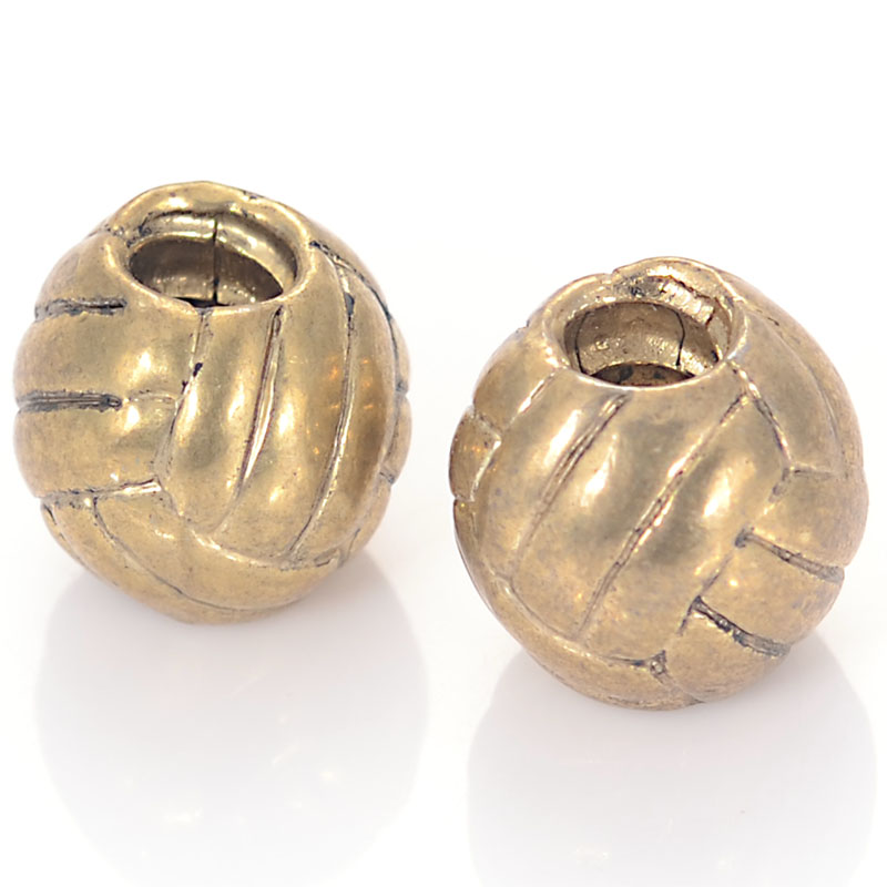 Newest European Style Antique Gold Large Hole Beads Volleyball Fits All Popular Brand Diy Charm Bracelet For Jewelry Making