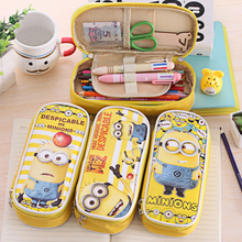 PU Leather Cartoon Pen Bag Cute Minions Kawaii Pens & Pencils Case Material escolar Stationery Office School Supplies