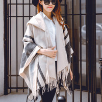 Women Autumn Spring Casual Poncho Ladies Fashion Knitted Striped Shawl Coat Hooded Cape Fringed Cardigan Coat Sweater Outwear
