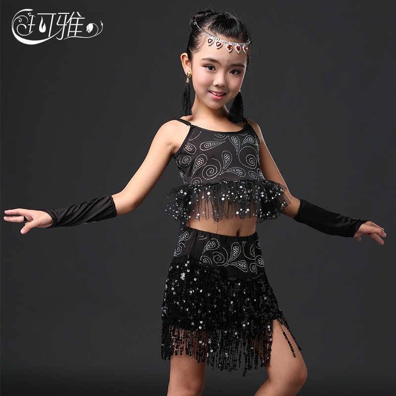 Latin Dance Dress untuk Gadis Flamengo Gaun Dancewear Latin Wanita Gaun Tari Tango Ballroom Samba Karnaval Berpayet