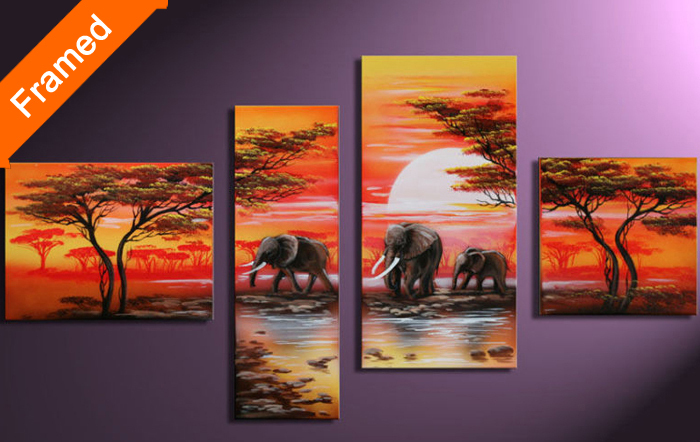 Four panels oil painting The African elephant Stretched canvas ready to hang modern picture for living room wall