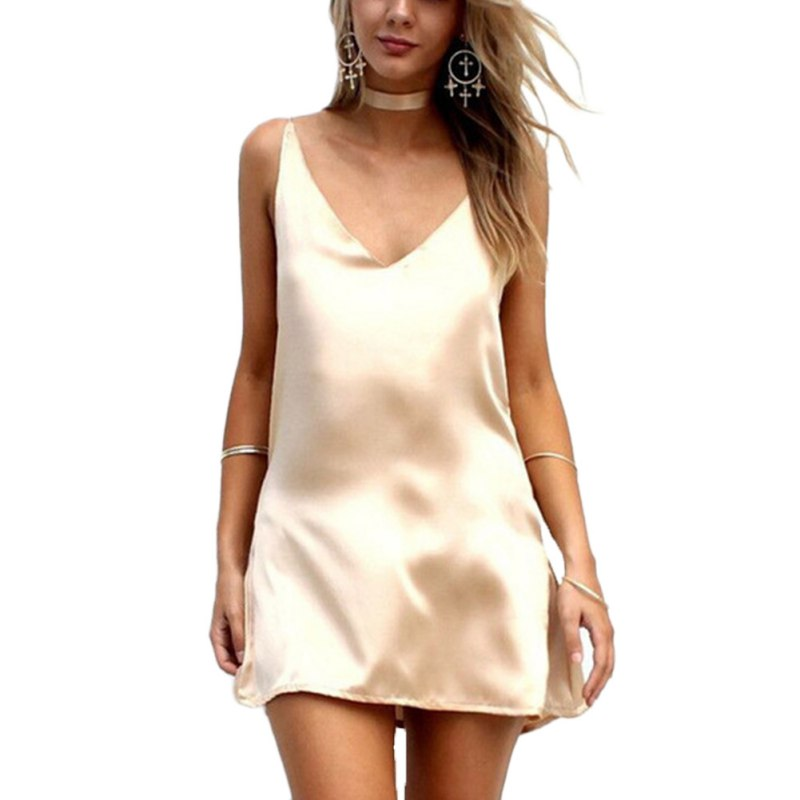Buy 2018 New Fashion Sexy V Neck Satin Slip Summer Dress Sleeveless Mini Halter Evening Bodycon Club Wear Female Party Dresses