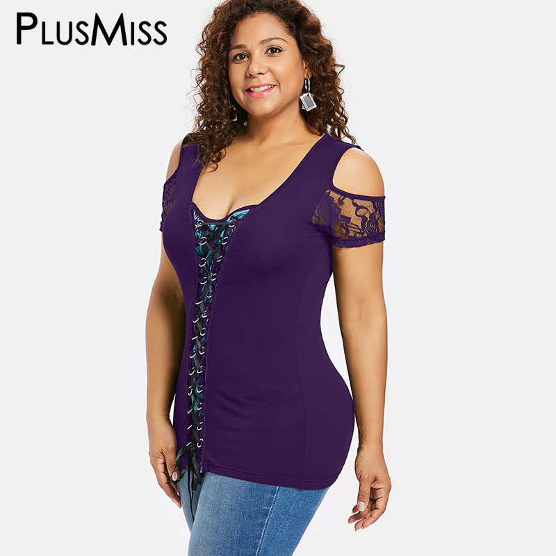 0ae532d83c3 PlusMiss Plus Size 5XL XXXXL XXXL Sexy Lace Crochet Tunic Tops Women Big  Size Vintage Cold Shoulder Lace Up Blouse Ladies Club-in Blouses   Shirts  from ...