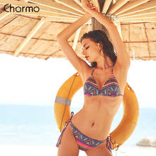 Charmo Women Bikini Set Vintage Floral Print Swimwear Geometric Swimsuit Side Bandage Bathing Suit Push Up Beachwear Sexy Bikini geometric tie side bikini set