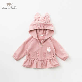 DBM10840 dave bella spring autumn baby girls cute rabbit hooded coat children tops fashion infant toddler outerwear - DISCOUNT ITEM  50% OFF All Category