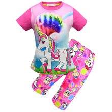 New Summer Kids Pajamas Girls Unicorn Pattern Clothes Cute Pajama Set