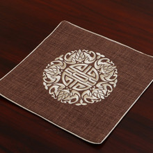 Изысканная вышивка Joyous Placemats квадратная Высококачественная льняная хлопковая Мода в китайском стиле обеденный стол защитные западные Подставки Под Еду