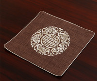 Fine Embroidery Joyous Placemats Square High End Linen Cotton Fashion Chinese Style Dining Table Protective Western