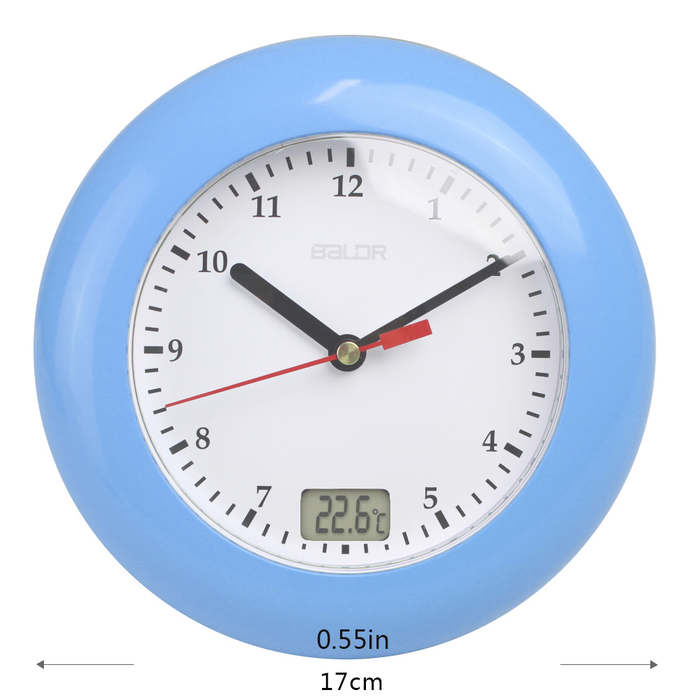 Baldr waterproof analog bathroom clock suction cups temperature baldr waterproof analog bathroom clock suction cups temperature sensor digital thermometer wall watch women makeup shower timer in wall clocks from home amipublicfo Choice Image