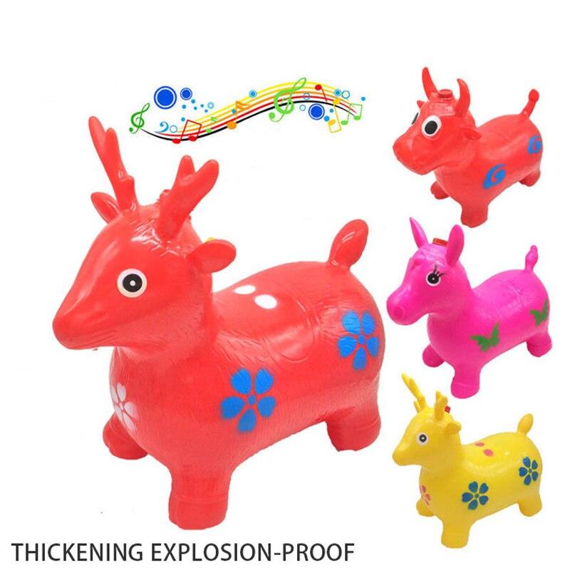 Passeios em Animais Cavalo Saltitante Bouncer inflável Pulando Brinquedos Brinquedos de Presente Criança Crianças Veados Borracha Cores Aleatórias Novo
