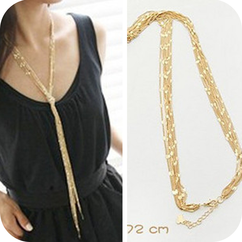 Envío gratis 2018 nuevos accesorios de joyería al por mayor royal punk tassel multi-layer long chain female vintage necklace gold women