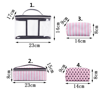 Clear Makeup Case 4 Pcs Transparent PVC Cosmetic Bag Women Pink Travel Toiletry Bag Organizer Beauty Makeup bags Free Shipping 2