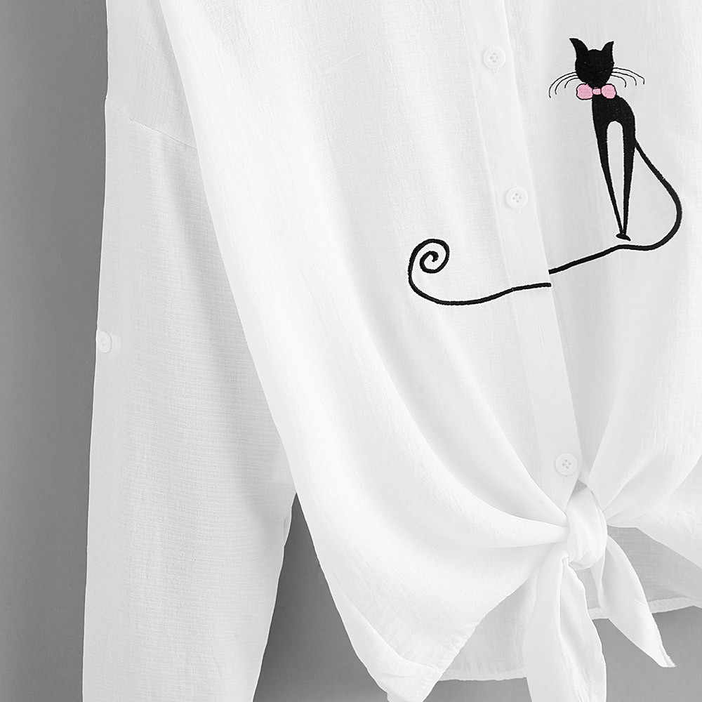 Feitong Plus Size damskie krótkie bluzki bluzki przyczynowy nadruk kota wiązane obszycie koszula z długim rękawem bluzka topy z guzikami blusa feminina 2019