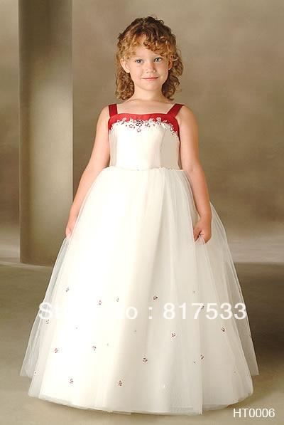 0c14ec8be ivory floor length flower girl dress red little bride dresses tank strap  organza diamond long ball gown
