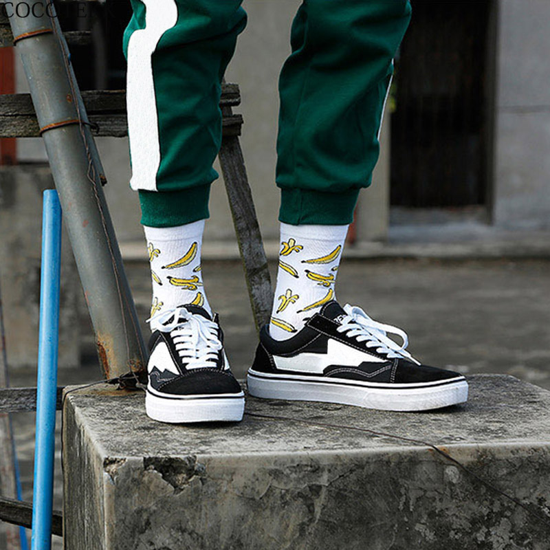 Fashion Brand Combed Cotton Skateboard Hip Hop Harajuku Long Men   Socks   Casual Banana Funny Happy   Socks   Men Dress Wedding   Socks