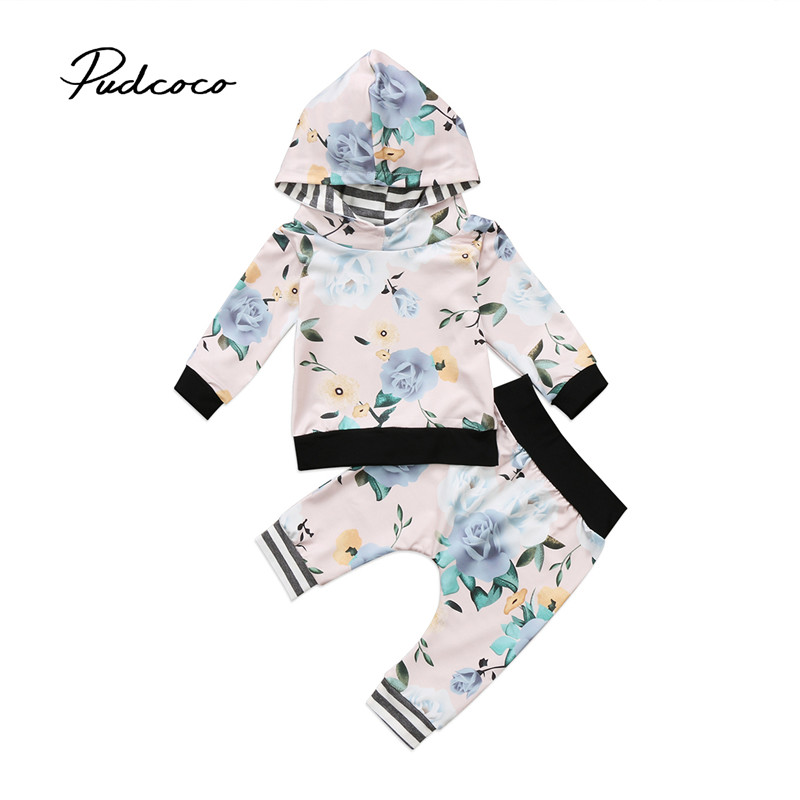 2pcs Newborn Baby Boy Girl Floral Clothes Long Sleeve Hooded Tops+Floral Long Pants Leggings Outfits Set