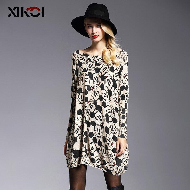 XIKOI preveliki pulover ženska moda dolgo batwing rokav tiska - Ženska oblačila