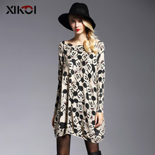 XIKOI Oversize Sweater Women Fashion Long Batwing Sleeve Print Woman Casual Pullovers Knitted Long Sweaters For Woman Clothes