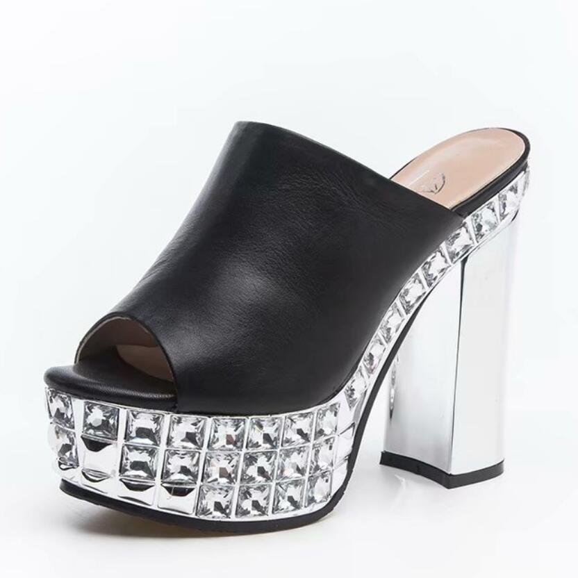 여자 2019 여름 새로운 corium 두꺼운 하이힐 샌들 라인 석 플랫폼 슈퍼 블록 발 뒤꿈치 정품 가죽 슬리퍼 신발-에서하이힐부터 신발 의  그룹 1
