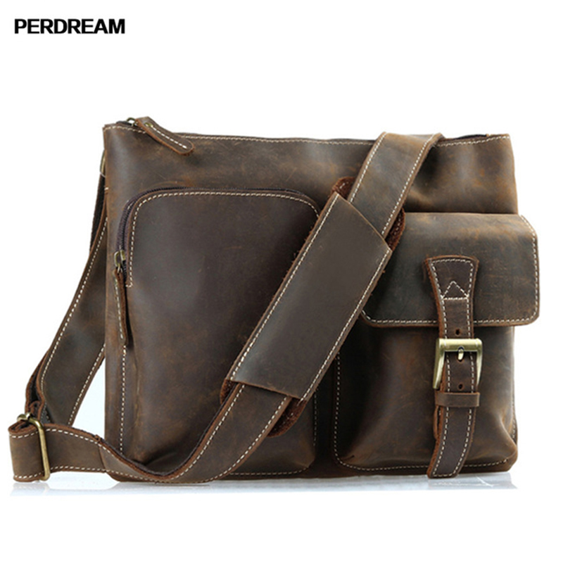 PERDREAM Vintage Genuine Leather Handbags Satchels Shoulder Bags High Quality Wear-resistant Cow Leather for Man Traveling