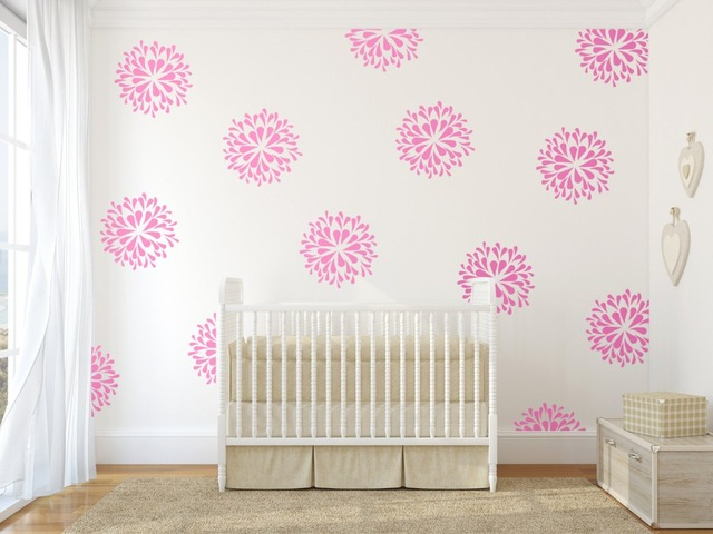 Beautiful Flower Blooms Pattern Wall Decal DIY Home Decor Nursery Sticker  Kids Girls Bedroom Decoration DIY