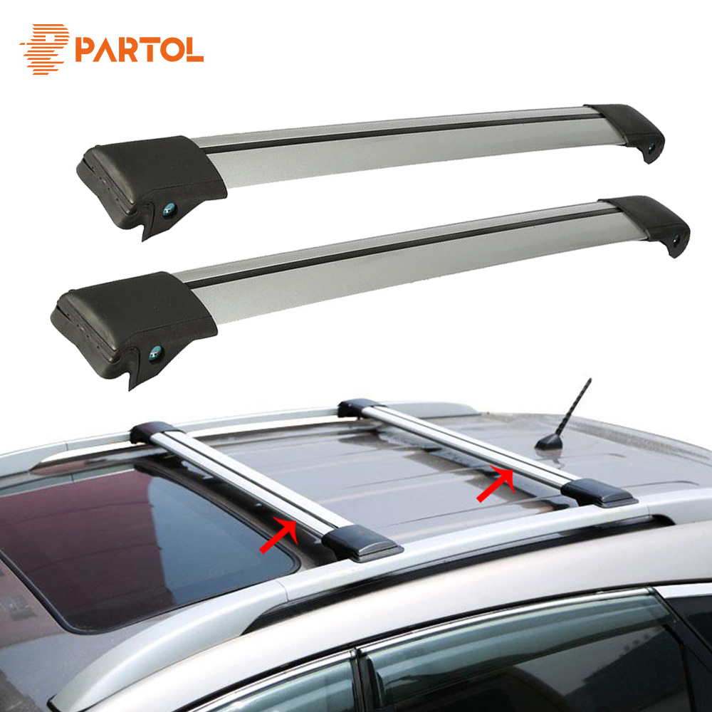 Partol 2Pcs Car Roof Rack Cross Bar Lock Anti-theft SUV Top 150LBS 68KG Aluminum Cargo Luggage Carrier For Auto Offroad 93-111CM