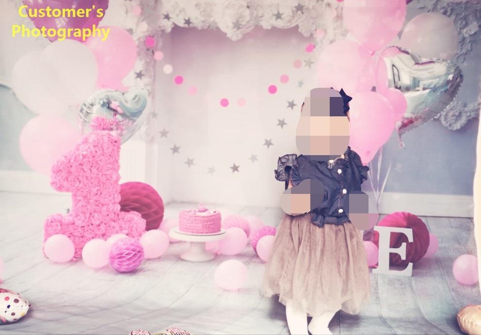 Laeacco Baby 1 Ad günü Balonları Tort Şömini Taxta Lövhələr - Kamera və foto - Fotoqrafiya 2