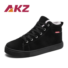 AKZ 2018 New Arrival Men's Ankle Boots Winter Warm Snow boots High Quality Male Work boots Round toe Outdoor shoes Man Flats цена 2017