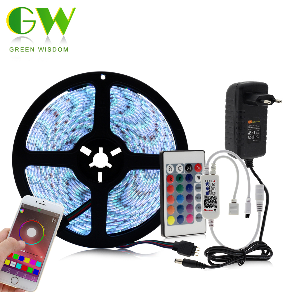 5050 RGB LED Strip Light Waterproof Diode Tape 5M + Mini Bluetooth LED Controller 24Key IR Remote + DC12V LED Power Adapter
