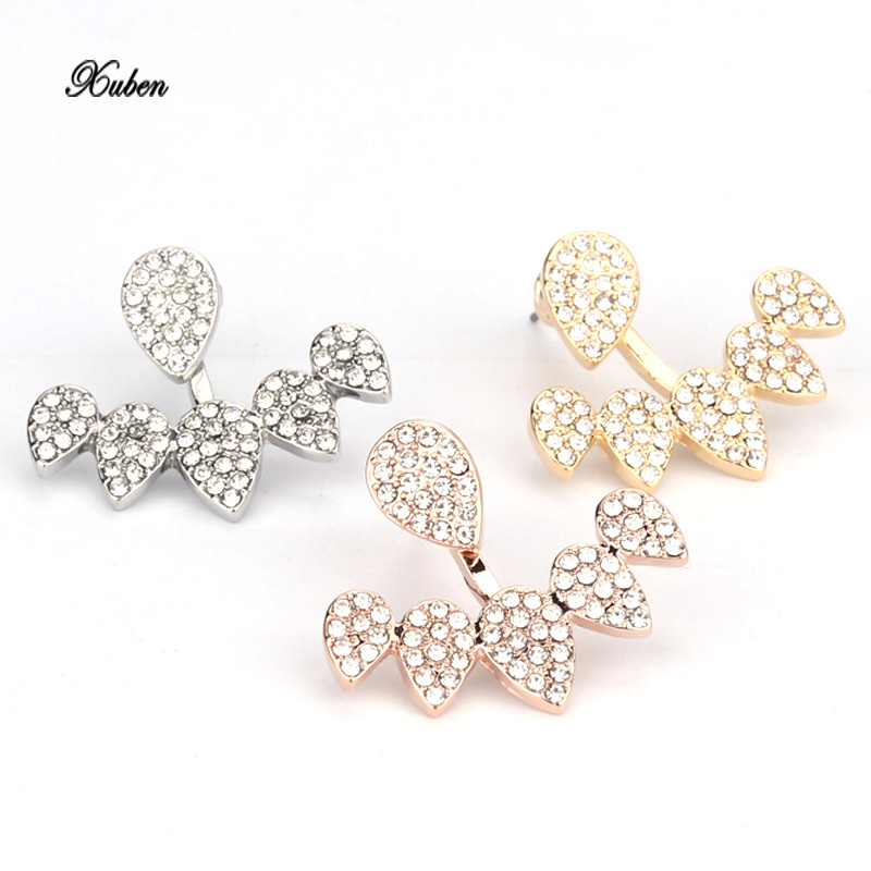 Party fashion Jewelry Crystal Front Back Double Sided Stud Earring For Women Ear Jacket Piercing Earing color dorado y oro rosa